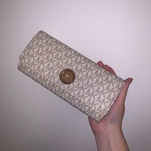 Michael Kors Brown and Cream Zip Wallet